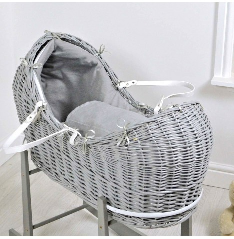 4baby Deluxe Grey Wicker Snooze Pod - Soft Grey