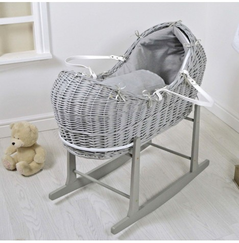 4baby Deluxe Grey Wicker Snooze Pod & Rocking Stand - Soft Grey