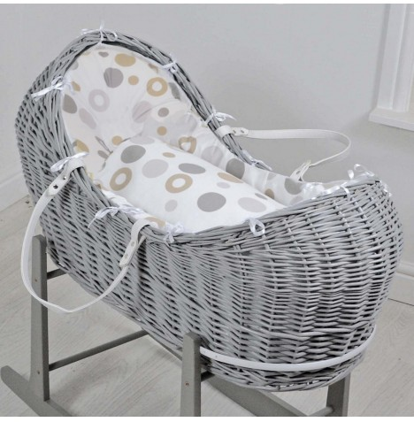 4baby Deluxe Grey Wicker Snooze Pod - Grey Bubbles