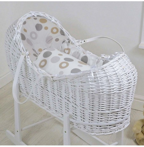 4baby Deluxe White Wicker Snooze Pod - Grey Bubbles