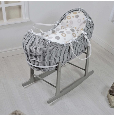 4baby Deluxe Grey Wicker Snooze Pod & Rocking Stand - Grey Bubbles