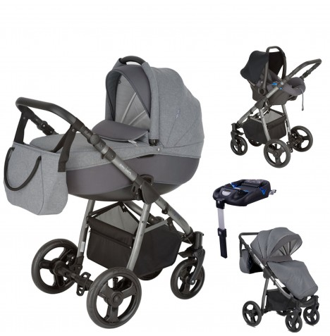 Mini Uno Stride Pram Travel System (With Isofix Base) - Graphite