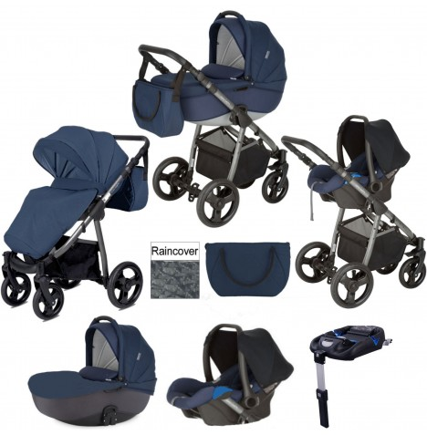 Mini Uno Stride Pram Travel System (With Isofix Base) - Navy Blue