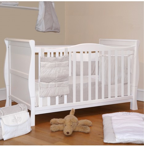 Cuddles Collection 3 in 1 Sleigh Cot With Sprung Mattress - White