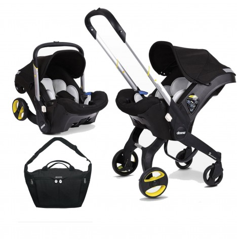 Doona Infant Car Seat / Stroller With Changing Bag - Night Black