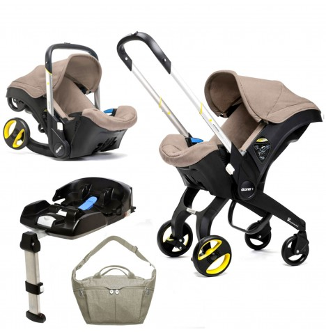 Doona Infant Car Seat / Stroller With Isofix Base & Changing Bag - Dune