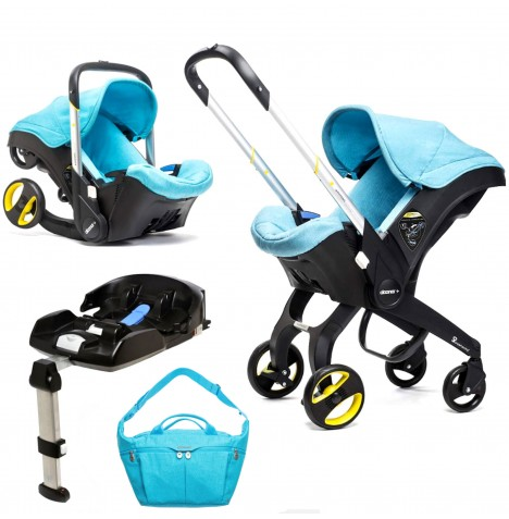 Doona Infant Car Seat / Stroller With Isofix Base & Changing Bag - Sky