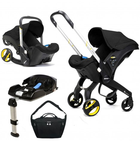 Doona Infant Car Seat / Stroller With Isofix Base & Changing Bag - Night Black
