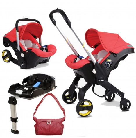 Doona Infant Car Seat / Stroller With Isofix Base & Changing Bag - Love Red