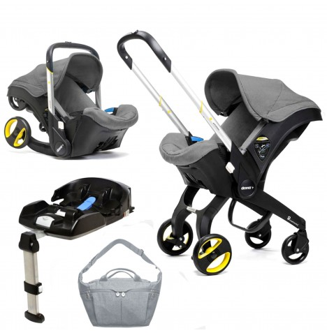 Doona Infant Car Seat / Stroller With Isofix Base & Changing Bag - Storm