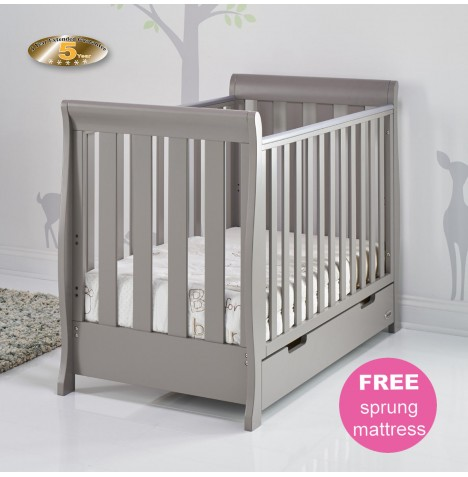 Obaby Stamford Mini Sleigh Cot Bed & Sprung Mattress - Taupe Grey