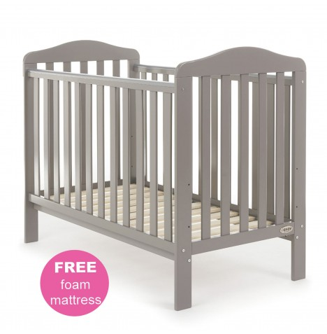 Obaby Ludlow Cot & Foam Mattress - Taupe Grey