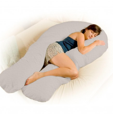 4baby Deluxe 12ft Body & Baby Sleep Support Pillow - Soft Grey..