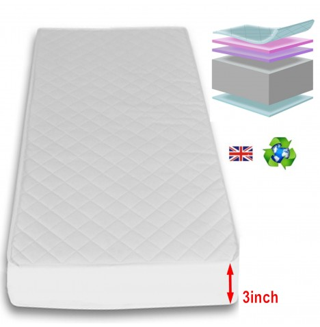 4Baby 3 Inch Deluxe Foam Cot Safety Mattress 100 x 50cm