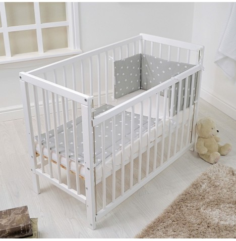 4baby Deluxe Space Saver Cot - White