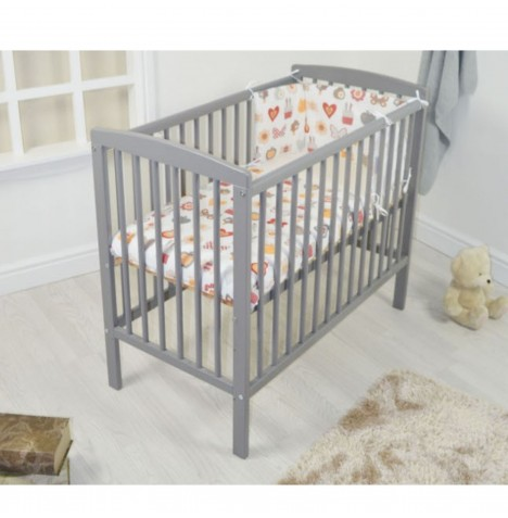 4baby Deluxe Space Saver Cot With Deluxe Foam Mattress - Grey