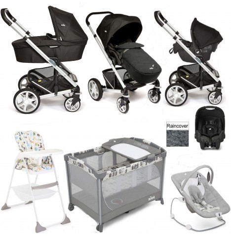 Joie Chrome Plus Everything You Need Gemm Travel System (With Carrycot) Bundle - Black Carbon