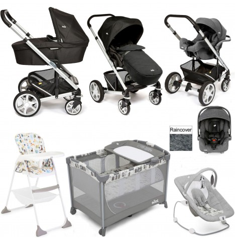 Joie Chrome Plus Everything You Need I-Gemm Travel System (With Carrycot) Bundle - Black Carbon