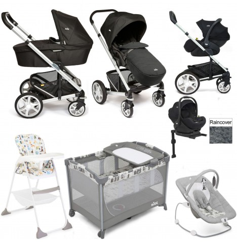 Joie Chrome Plus Everything You Need I-Level Travel System (With Carrycot) Bundle - Black Carbon