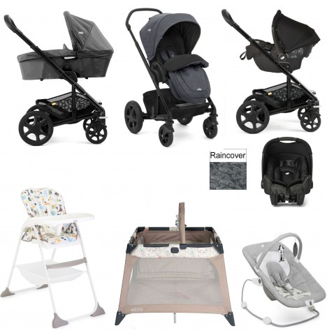 Joie Chrome DLX Everything You Need Gemm Travel System (With Carrycot) Bundle - Pavement