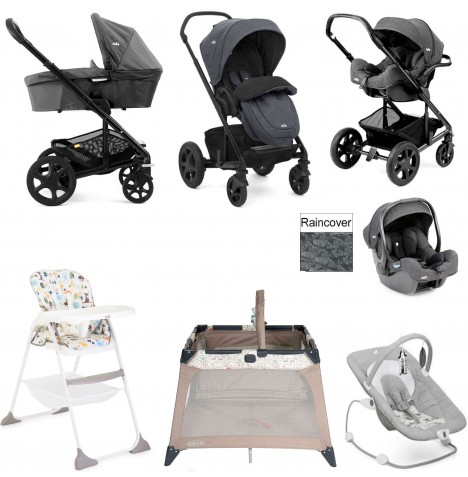 Joie Chrome DLX Everything You Need I-Gemm Travel System (With Carrycot) Bundle - Pavement