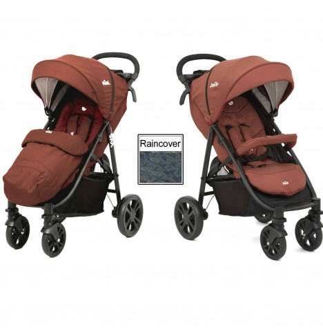 Joie Litetrax 4 Wheel Stroller (With Footmuff) - Brick Red