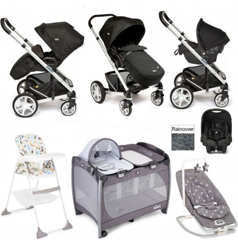 Joie Chrome Plus Everything You Need Gemm Travel System Bundle - Black Carbon