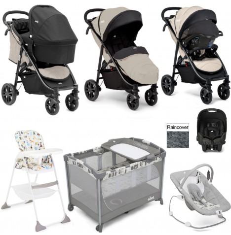 Joie Litetrax 4 Everything You Need Gemm Travel System (With Carrycot) Bundle - Khaki