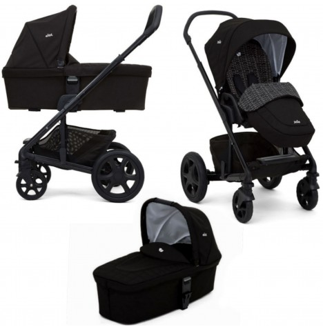 Joie Chrome DLX Pushchair (inc Footmuff) & Carrycot - Dots Black