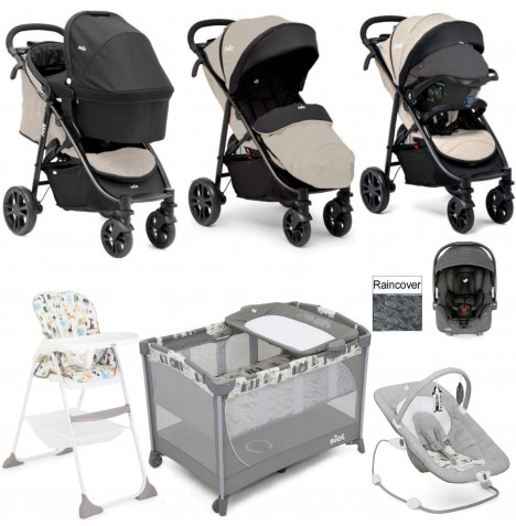 Joie Litetrax 4 Everything You Need I-Gemm Travel System (With Carrycot) Bundle - Khaki