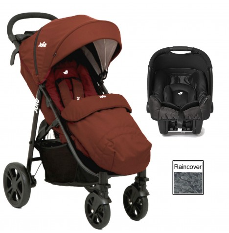 Joie Litetrax 4 (Gemm) Travel System - Brick Red