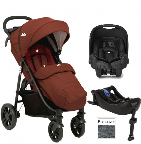 Joie Litetrax 4 (Gemm) Travel System & Isofix Base - Brick Red