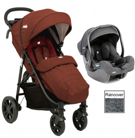 Joie Litetrax 4 (iGemm) Travel System - Brick Red