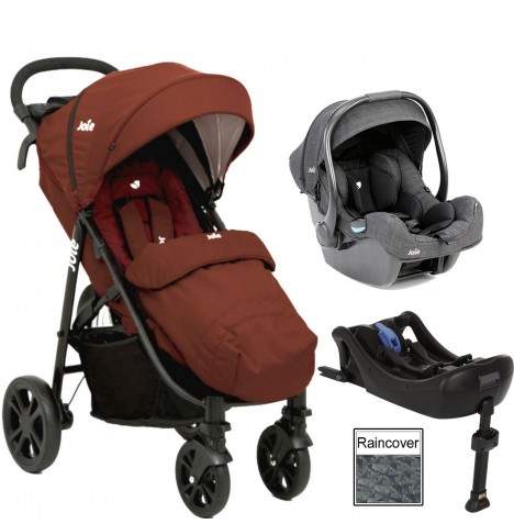 Joie Litetrax 4 (iGemm) Travel System & Isofix Base - Brick Red