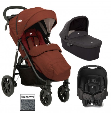 Joie Litetrax 4 (Gemm) Travel System & Carrycot - Brick Red
