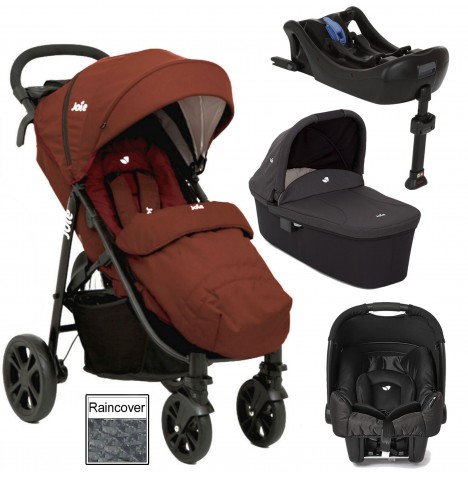 Joie Litetrax 4 (Gemm) Travel System With Carrycot & Isofix Base - Brick Red
