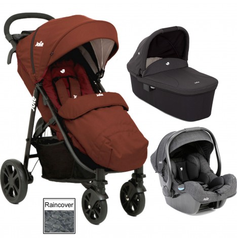Joie Litetrax 4 (iGemm) Travel System & Carrycot - Brick Red