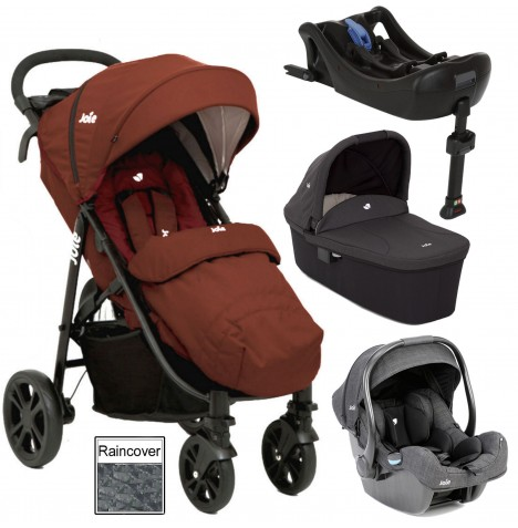 Joie Litetrax 4 (iGemm) Travel System With Carrycot & Isofix Base - Brick Red