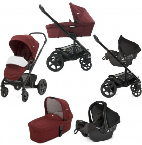 Joie Chrome DLX Travel System with Gemm Car Seat, Carrycot & Footmuff - Cranberry