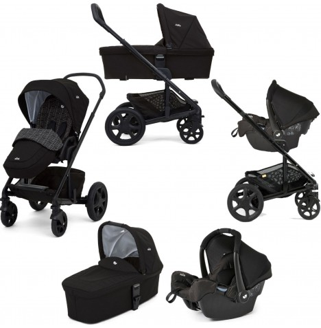Joie Chrome DLX Travel System with Gemm Car Seat, Carrycot & Footmuff - Dots Black