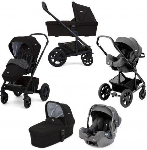 Joie Chrome DLX (i-Gemm) Travel System & Carrycot (inc Footmuff) - Dots Black