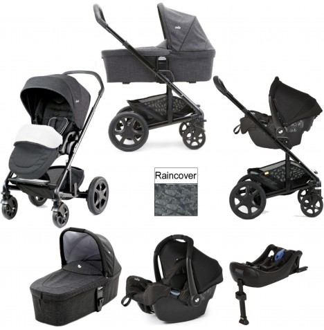 Joie Chrome DLX (Gemm) Travel System With Carrycot & Isofix Base (inc Footmuff) - Pavement