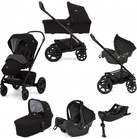 Joie Chrome DLX Travel System with Carrycot, Gemm Car Seat, Isofix Base & Footmuff - Dots Black