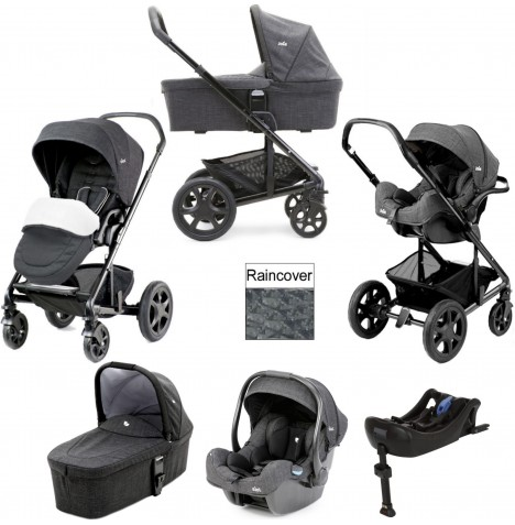 Joie Chrome DLX (iGemm) Travel System With Carrycot & Isofix Base (inc Footmuff) - Pavement