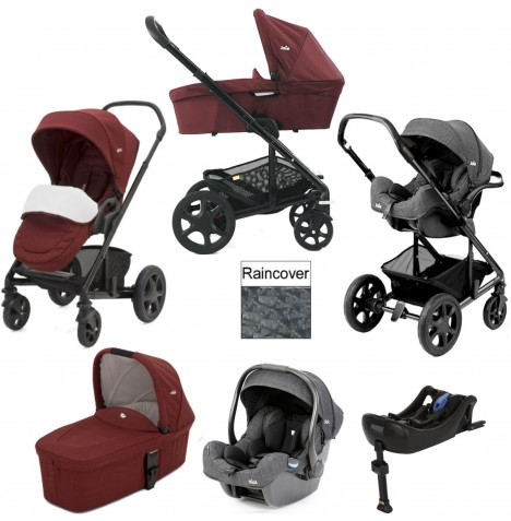 Joie Chrome DLX (iGemm) Travel System With Carrycot & Isofix Base (inc Footmuff) - Cranberry