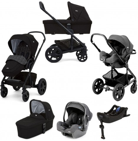 Joie Chrome DLX (iGemm) Travel System With Carrycot & Isofix Base (inc Footmuff) - Dots Black