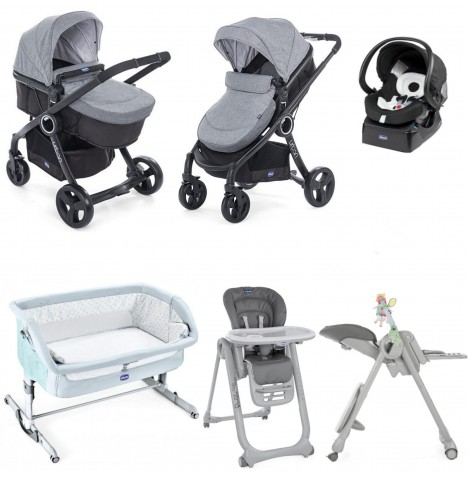 Chicco 7 Piece Urban Plus / Polly Magic Everything You Need Travel System Bundle - Legend
