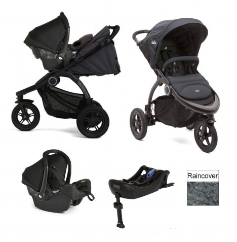 Joie Crosster 3 Wheeler (Gemm) Travel System & Isofix Base - Asphalt