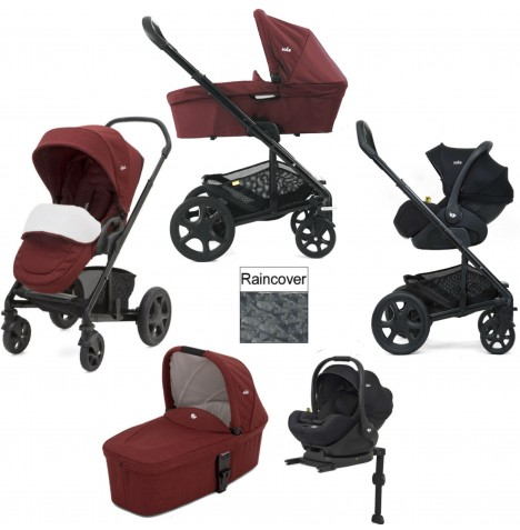 Joie Chrome DLX (i-Level) Travel System With Carrycot (inc Footmuff & ISOFIX Base) - Cranberry