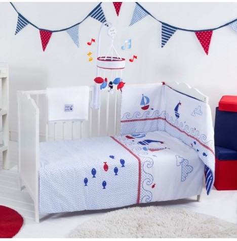 Red Kite 5 Piece Cosi Cot / Cot Bed Bedding Set With Mobile - Ships Ahoy Blue